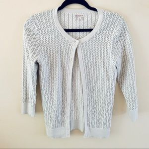 White and Grey Patterned Cardigan